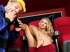 Michelle Damp enjoys hot footsex in cinema