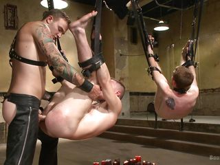 dual hanged faggot getting their asses drilled