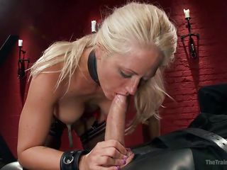 blonde slave has to suck off the gimp