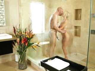 perky blonde has bathroom sex