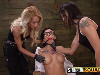 gagged slut takes a strap on unfathomable innermost of her