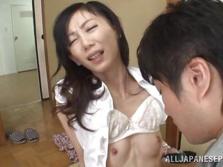 tiny japanese milf obtains a creampie