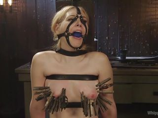 marlowe clamped the nice tits of her slave