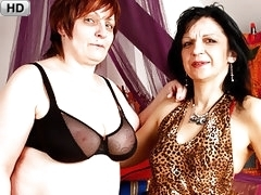 Mature Lesbian BBWs in Stockings with Dildos
