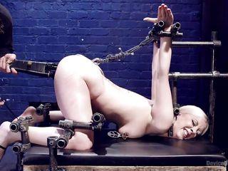 blonde slutty babe gets restrained