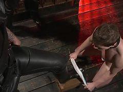 Two Hot Doms Brutalize Slave Boy