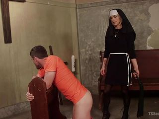 shemale nun fucks prisoner's face
