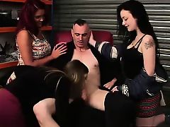 Raunchy CFNM British queens give blowjob to naked guy