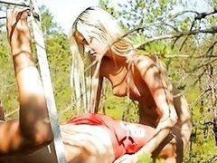 Alluring tiny cowgirl shows off her riding skills