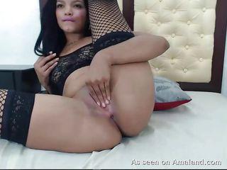 hot latina with big ass plays with dildo