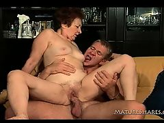 Shaggy Elderly Fucked By Horny Stud