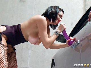 breasty nympho in a parking lot