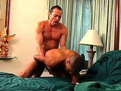 Ripped horndog buries his hard cock in a ebon stud's tight ass