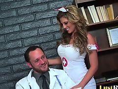Sexy nurse Charisma Capelli makes her doctor cock juice