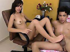 Charming brunette teen footjob for boyfriend on webcam
