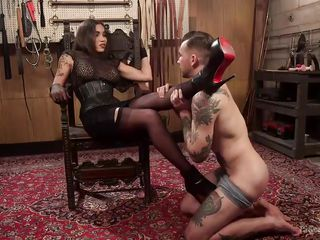 can will make the tranny cum? if not, she gets to spank him