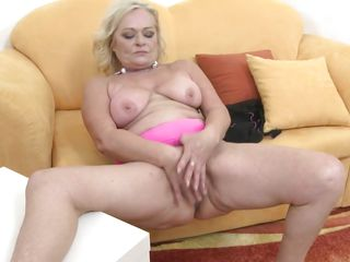 blonde mature beauty acquires she's off with a vibrator