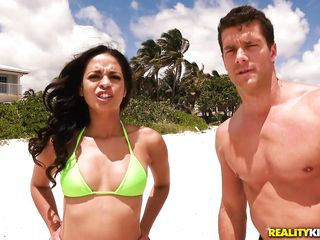 sweet latina princess gets picked up on the beach