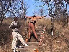 African slave with big tits and a juicy booty is ready for