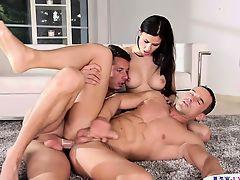Assfucked bisexual hunk jerksoff sperm in trio
