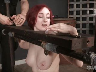 brutally gullet dug right although in a bondage device