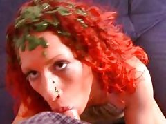 Crazy redhead covers herself in paint and bangs a chubby guy