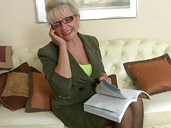 Hot teens Becky and Karina gets dildated by an old woman