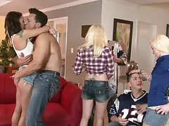 Three married couples play dirty games in the living room