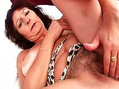 Granny with mammoth tits finger bonks