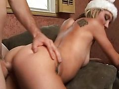 Tattooed Xmas bitch fucked properly