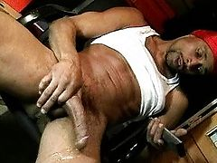 Stud playing with dick brown rod while watching RedTube