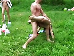 Hot outdoor swingers threesome